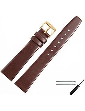 MARBURGER Uhrenarmband 18mm Leder Braun - Rindsleder - Inkl. Zubehör - Ersatzarmband, Schließe Gold - 7101831000220