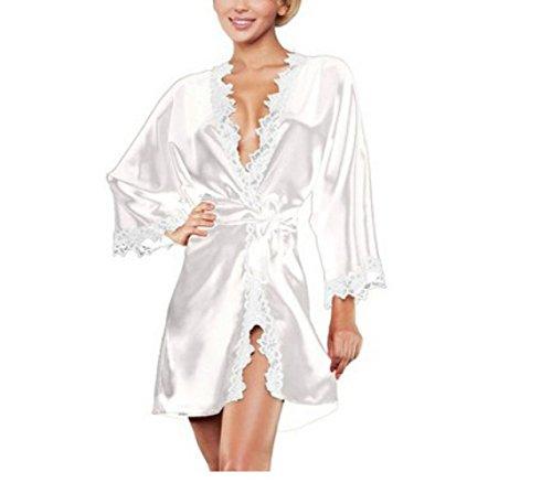 JYY Sexy Dessous Spitzenkleid Babydoll Nachthemd Nachtwäsche Kimono Perspective Pyjamas Set Sexy Damen Sommer Bademantel (Mantel + Slip + Gürtel),White-XXL - Mantel Pyjamas