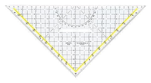 Aristo TZ-Dreieck (Geodreieck 1648/2 aus Plexiglas mit Griff und Tuschenoppen, Facette an Hypotenuse, 32,5 cm, Made in (Riesen Licht-sets)