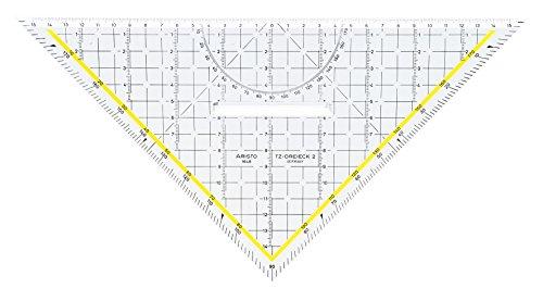 Aristo TZ-Dreieck (Geodreieck 1648/2 aus Plexiglas mit Griff und Tuschenoppen, Facette an Hypotenuse, 32,5 cm, Made in Austria)