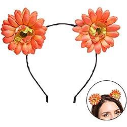 TOYANDONA Una cabeza de mujer con flores lindas imitaciones de margaritas,Corona,Corona,anillo de boda.