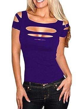 La Mujer Es Elegante Hombro Frío Hueco Fuera Verano T Shirt Blusas Tops Bodycon