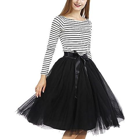 Tyhbelle Damen 7 Layer lang Tutu Tüll Röcke Gefalteter mit