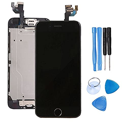 Ibaye® Screen Replacement for iPhone 6 Black LCD Touch Digitizer Full Display Assembly with Home Button+Front Facing Camera Proximity Sensor+Ear Speaker+Full Repair Tools+Screen