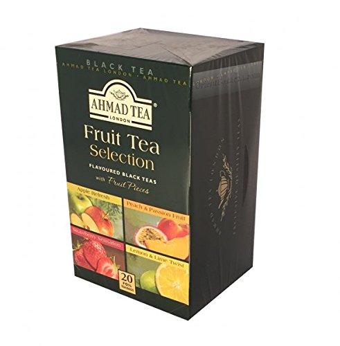 Ahmad Tea – Fruit Tea Selection | 4 Sorten aromatisierter Schwarztee | 20 Teebeutel á 2 g | Teebeutel mit Band