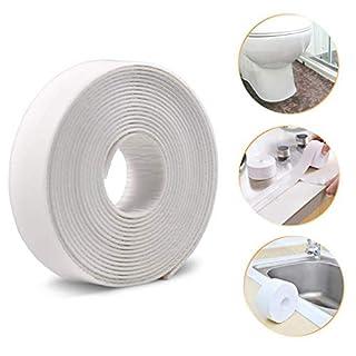 Bath Sealant Strip, Caulk Strip PE Self Adhesive Flexible Waterproof Shower Sealant Tape Ideal for Kitchen Bathroom Bathtub Toilet Floor Corner Wall Shower Tile Sealer (38mm x 3.35m, White)