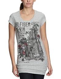 Hilfiger Denim - T-Shirt - Femme - Gris-377-Tr-A1 - Taille fournisseur: XS (FR équivalent: 34)