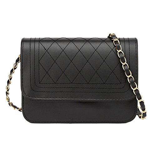GSPStyle Damen Schultertasche Schulterkette Elegant Handtasche Farbe Schwarz