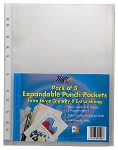 Tiger A4 expanding poly punched pockets files - pack of 5 wallets by Tiger