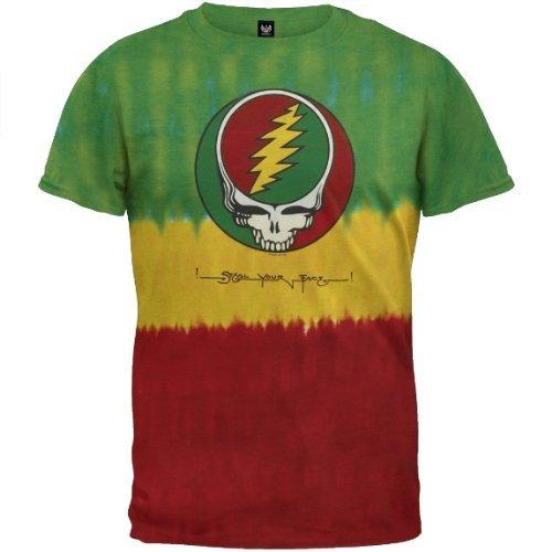 Old Glory Grateful Dead–Herren Rasta Stealie Tie Dye T-Shirt Gr. X-Large, Dunkelgrün (Rasta Dye Tie T-shirt)
