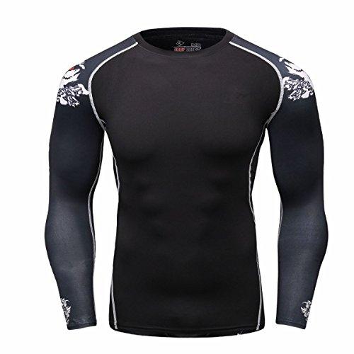 Cody Lundin Herren Mode Schwarzes T-shirt in lässig Gentleman attraktive Muster Sleeve Shirt Male'sSport Outdoor-Langarm Schwarz A