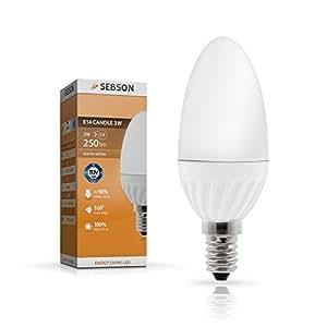SEBSON E14 LED 3W Lampe Kerze - vgl. 25W Glühlampe - 250 Lumen - E14 LED warmweiß - LED Leuchtmittel 160°