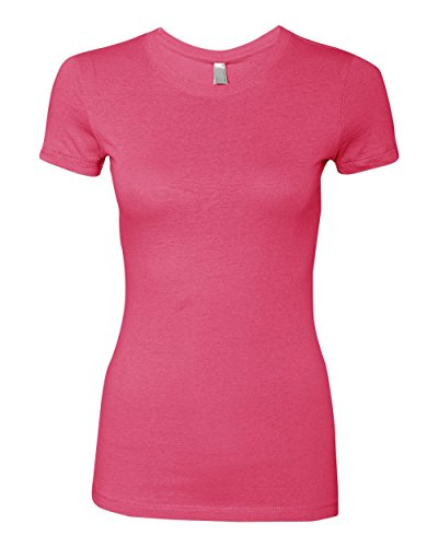 Next Level Apparel Women's Crewneck Cap Sleeve T-Shirt, Hot Pink, Large (Cap Hot Womens Sleeve T-shirt)