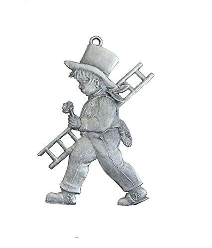Zinngeschenke Schornsteinfeger beidseitig von Hand patiniert aus Zinn (HxB) 6,5 x 4,5 cm als hängende Figur