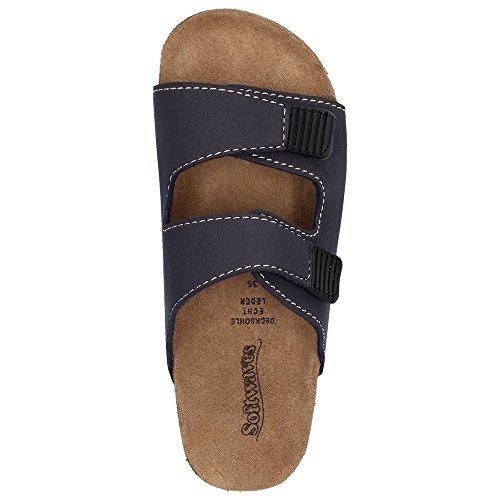 Softwaves pantolette sabots sandales pour garçon haussschuh semelles en cuir bleu marine Bleu - Bleu marine