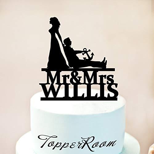 Tortenaufsatz Tortenaufsatz für Hochzeit Custom Nautische Hochzeit Kuchen Topper Mr & Mrs Tortenaufsatz Braut Dragging Groom 1221 ()