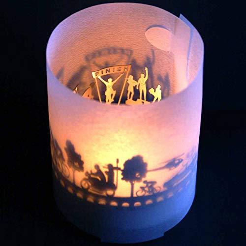13gramm Rennrad Windlicht Schattenspiel in der Geschenk-Box, 3D Edelstahl Aufsatz für Kerze inkl. Kerze, Projektionsschirm