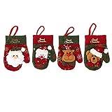 Luckilytop 4pcs Natale Forcella Cucchiaio da tavola Regalo Borse Santa Claus Pupazzo di Neve Renna Orso Guanti Tasca Albero di Natale la Decorazione Domestica