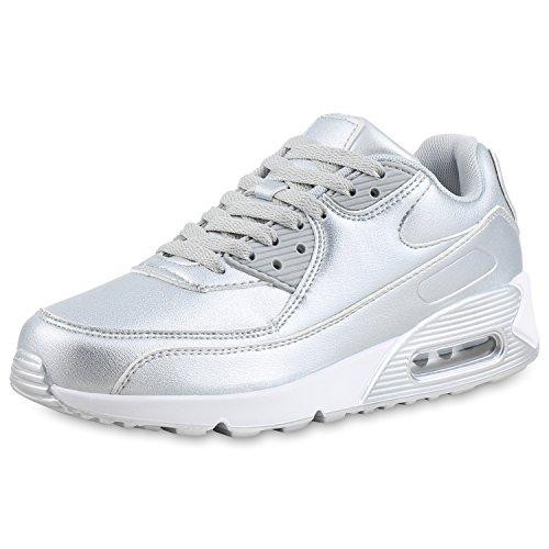 SCARPE VITA Damen Sportschuhe Metallic Laufschuhe Schnürer Fitness Sneaker 161551 Silber Metallic 39