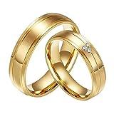 CARTER PAUL CZ en acier inoxydable plaqué or 18 carats de diamant Bague de bandes de mariage de couple, Femmes, Taille 57