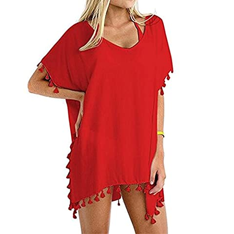 Wowforu Women Colorful Tassels Crochet Pom Pom Tassel Hem Gauze Kaftan Swimsuit Cover-up Pareos dresses Sarong