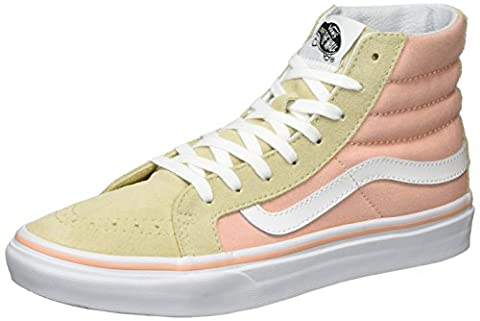 Vans Women UA SK8 Slim Hi-Top Sneakers, Beige (Pale Khaki/True White), 5 UK 38 EU