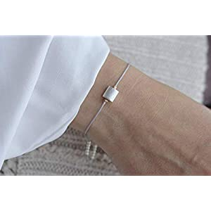 SCHOSCHON Damen Textilarmband Silberelement in Grau, 925 Silber // Geschenk Geschenkidee Weihnachten