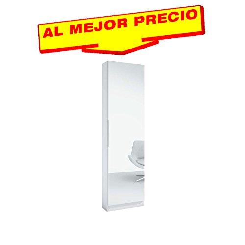 ZAPATERO ARMARIO CON ESPEJO COLOR BLANCO, DIMENSIONES 50x180x20cm.OFERTAS HOGAR ¡AL MEJOR PRECIO!