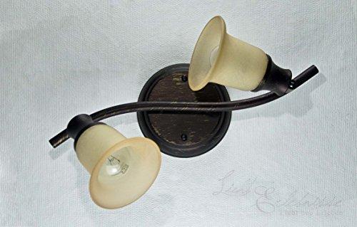 Rustikaler Deckenspot Strahler 2x E14 Fassung Glas in creme Landhaus Deckenleuchte -