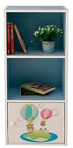 3étages en bois Bibliothèque étagère de rangement unité d'affichage Dessin animé salle de jeux enfants, Bleu/ours, W42 x D29 x H89(CM)