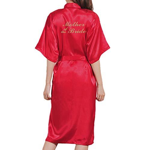 Juleya Hochzeit für Mutter der Braut Robe Badekleid Damen Sexy Long Kimono Nachthemd Satin Nachtwäsche Kosmetik Nachtwäsche