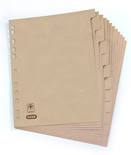 ELBA 100204955 Register Touareg aus Recycling-Kraftkarton für DIN A4 12 Taben 12-teilig  beige Karton Ringbuch Ordner Ring-mappe Ringbuch Hefter