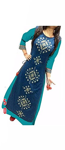 Suits for Women Indo-Western Blue Party Wedding Wear Floor Length Gown/ Anarkali Suit/ Salwar Suit  available at amazon for Rs.399