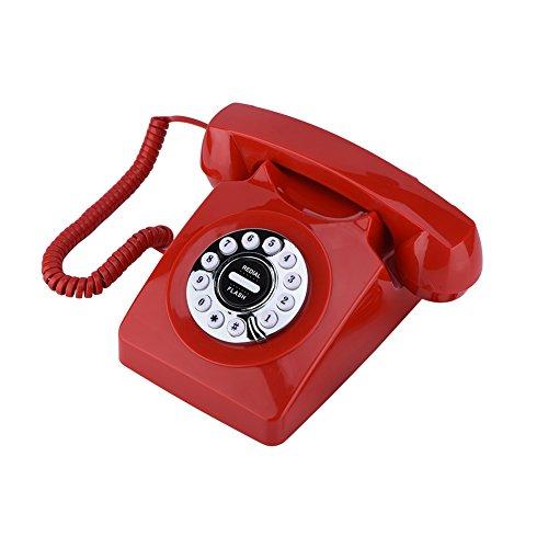 Teléfono Retro de Estilo Occidental Antiguo,Teléfono Elegante Fijo en la Pared con Almacenamiento Digital y Funciones de Marcación Rotativa Inicio como Decoración Clásica (Rojo)