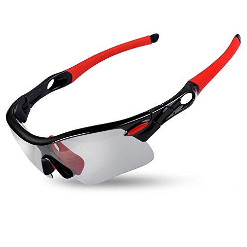 ICOCOPRO polarisierte Sportsonnenbrille für Damen und Herren, UV 400, Schutz für Radfahren, Angeln, Golf, Wandern, unzerbrechlich, superleichter Rahmen, 4 Farben, schwarz/rot
