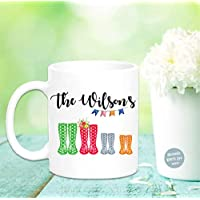 Personalised Family Welly Mug Wellington Boots