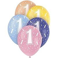 Unique Party - Globos Perlados de Látex para Cumpleaños - 30 cm - Número 1 - Paquete de 5 (80201)