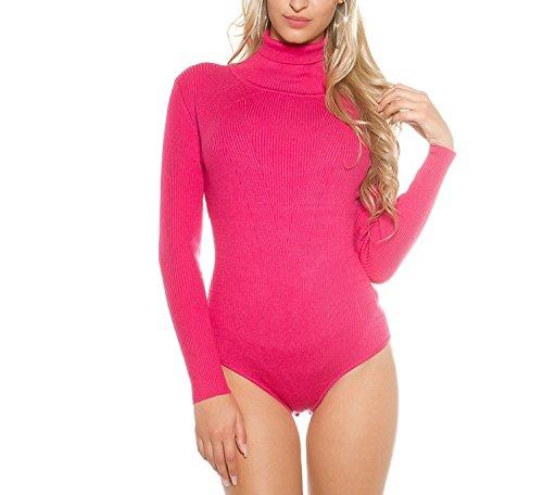 Kuschliger Rippstrick-Body mit Rollkragen Pink