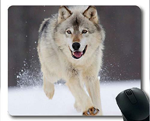 Yanteng Alfombrilla de ratón Gaming, colchonetas de ratón Snow Animal Wolf