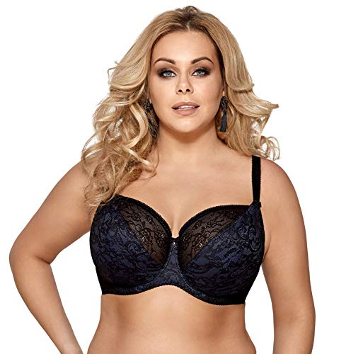 dc87e50ee8506 Gorsenia Adele K324 Soft Bra Big Lady Lingerie Lace Pattern Adjustable  Setteil EU - Black -