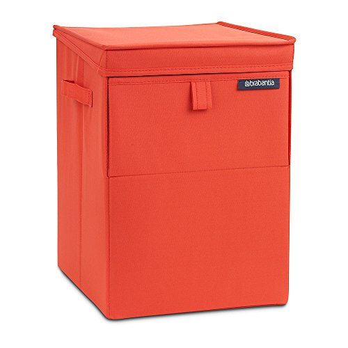 Brabantia bag stackable laundry box 35l-impilabile con doppia apertura, poliestere/plastica, red, 35 kitri
