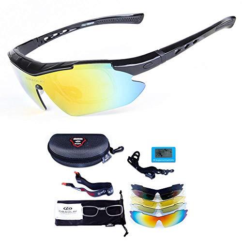 BeneU Polarisierte Sport-Sonnenbrille, Winddichte Anti-UV-Reitbrille, Unzerbrechliche Sportbrille Mit 5 Wechselgläsern, Sport-Augenschutzbrille Für Damen Und Herren Beim Laufen, Radfahren, Angeln