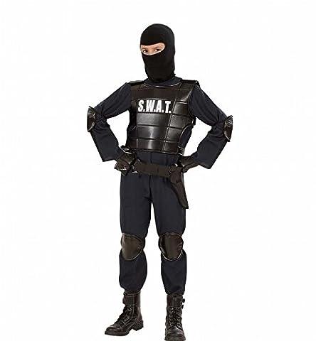 Widmann 55348 - Kinder Kostüm S.W.A.T. Officer Anzug, Weste, Gürtel, Maske, Knie- und Ellenbogenprotektoren, schwarz, Größe (Amazon Halloween-kostüme Für Kinder)