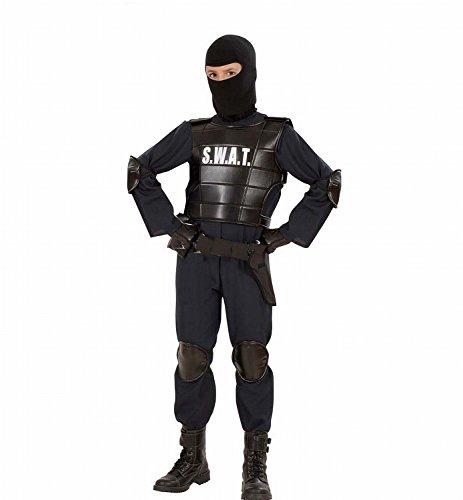 Widmann 55348 - Kinder Kostüm S.W.A.T. Officer Anzug, Weste, Gürtel, Maske, Knie- und Ellenbogenprotektoren,  schwarz, Größe (Polizei Kinder Kostüme Halloween)