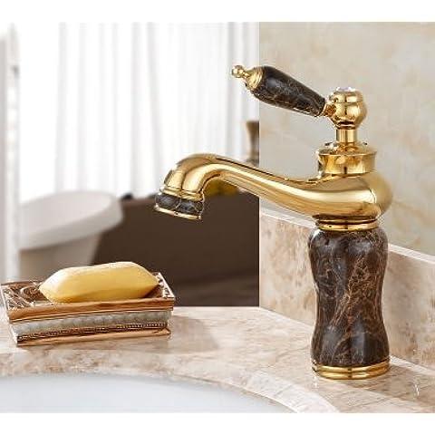Todos los grifos fr¨ªos y calientes y jade naturales antiguo grifo del lavabo de colada de m¨¢rmol cobre chapado en