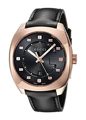 Gucci Men's Analog Swiss-Quartz Watch with Leather Calfskin Strap YA142309