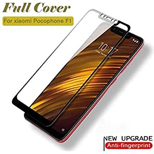 CELLUTION™ Full Glue 100% Coverage 5D Tempered Glass, Full Edge-to-Edge Screen Protector for Xiaomi Poco F1 - Black