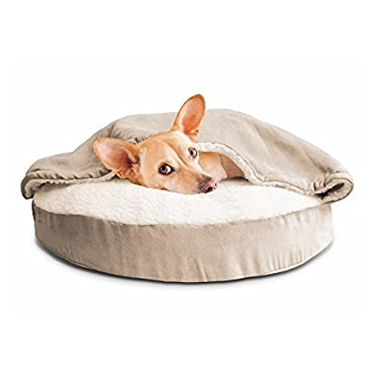 Furhaven Pet Dog Bed   Orthopedic Round Faux Sheepskin Snuggery Burrow Pet Bed for Dogs & Cats, Blue, 18-Inch 2