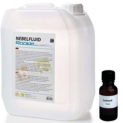 5 Liter DJPower Nebelfluid ROOKIE + 30 ml Duftstoff Cola, Smoke-Fluid, Nebel-Fluid-Flüssigkeit für Nebelmaschine (Flüssigkeit Für Nebelmaschine)