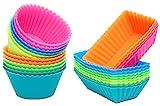 [Neue Version] Ipow 24-Pack Silikon muffinform Muffin Cupcake Backförmchen Muffinförmchen 6 Farben für Muffins, Brownies, Cupcakes, Kuchen, Pudding ...